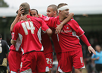 Andros Townsend is congratulated after his cross is headed in for Leyton Orient's winning goal