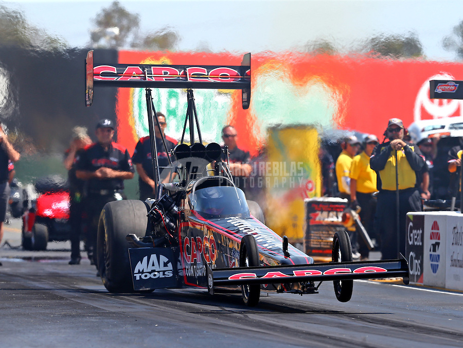 Aug 1, 2015; Sonoma, CA, USA; NHRA top fuel driver Steve Torrence during qualifying for the Sonoma Nationals at Sonoma Raceway. Mandatory Credit: Mark J. Rebilas-