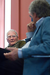 James Lovelock (b 1919), scientist and originator of the Gaia Theory, talks to David Freeman at the Oxford Martin School, during the FT Weekend Oxford Literary Festival, Oxford, UK. Tuesday 29 March 2014.<br /> <br /> PHOTO COPYRIGHT Graham Harrison<br /> graham@grahamharrison.com<br /> <br /> Moral rights asserted.