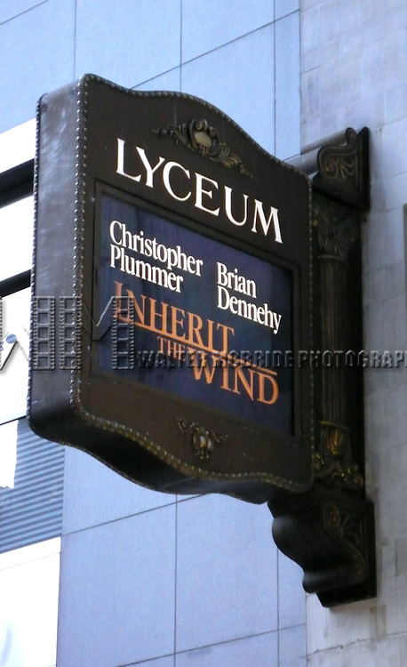 Tony Award winners Christopher Plummer and Brian Dennehy will co-star in a limited engagement of Jerome Lawrence and Robert E. Lee's 1955 courtroom drama Inherit the Wind..( Opening Night Arrivals Theatre Marquee ).Lyceum Theatre in New York City..April 12, 2007.© Walter McBride /  .