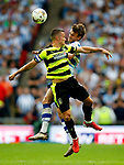 Jonathan Hogg of Huddersfield Town challenges John Swift of Reading during the SkyBet Championship Play Off Final match at the Wembley Stadium, England. Picture date: May 29th, 2017.Picture credit should read: Matt McNulty/Sportimage