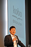 July 2, 2012, Tokyo, Japan - .Chairman and CEO HIroshi Mikitani of Rakuten, Japans major Internet shopping site operator, introduces its Kobo e-reader and open a new e-book store later this month during its launch in Tokyo on Monday, July 02, 2012. .Rakuten will sell the Kobo for 7,980 yen, and open the new e-book store with about 30,000 Japanese books. (Photo by Koichi Mitsui/AFLO)