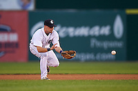Connecticut Tigers second baseman Patrick Mackenzie (54) fields a ground ball during the first game of a doubleheader against the Brooklyn Cyclones on September 2, 2015 at Senator Thomas J. Dodd Memorial Stadium in Norwich, Connecticut.  Brooklyn defeated Connecticut 7-1.  (Mike Janes/Four Seam Images)