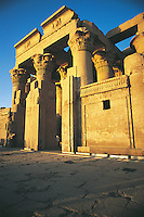 The hypostyle hall at Kom Ombo, a massive structure with eight great lotus-capital columns. This temple was begun by Ptolemy VI (r. 180 to 145 BC) and finished in Roman times. It is dedicated to two gods, Sobek and the falcon-headed sky god, Horus the Elder.