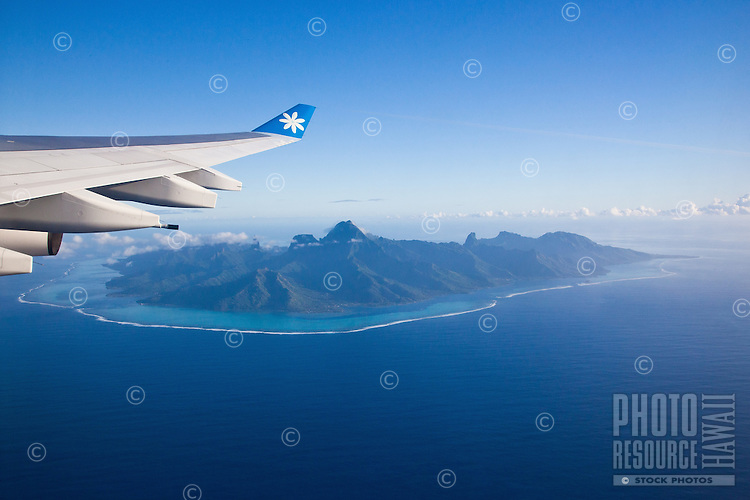 Moorea island seen from Air Tahiti Nui airplane