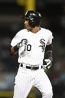 Chicago White Sox shortstop Alexei Ramirez (10) running the bases during a game against the Toronto Blue Jays on August 15, 2014 at U.S. Cellular Field in Chicago, Illinois.  Chicago defeated Toronto 11-5.  (Mike Janes/Four Seam Images)