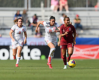 FRISCO, TX - MARCH 11: Nikita Parris #7 of England races down the field with the ball with Leila Ouahabi #15 of Spain right behind her during a game between England and Spain at Toyota Stadium on March 11, 2020 in Frisco, Texas.