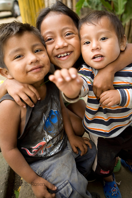 Three smiling Nicaraguan children, Laguna de Apoyo, Granada, Nicaragua