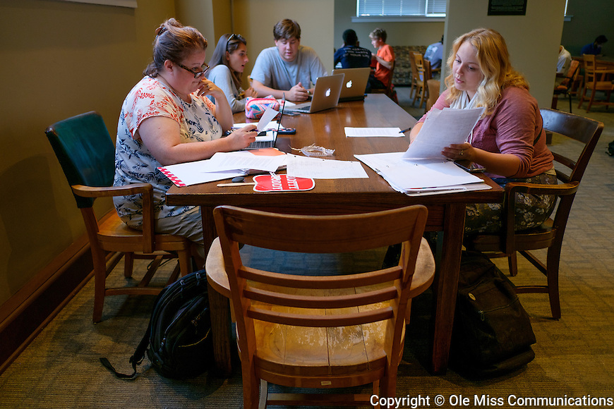 The Brevard Hall lounge is a popular place to study between classes. Photo by Robert Jordan/Ole Miss Communications