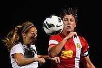 Western New York Flash forward Abby Wambach (20) is marked by Portland Thorns defender Marian Dougherty (2) during the National Women's Soccer League (NWSL) finals at Sahlen's Stadium in Rochester, NY, on August 31, 2013.