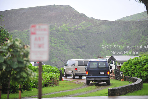 United States President Barack Obama's motorcade containing family and friends arrived at the bay to enjoy snorkeling and other beach activities, in Honolulu, Hawaii, Tuesday, December 28, 2010. .Credit: Cory Lum / Pool via CNP