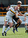 "Dumbarton's Andy Graham and Alloa""s Alex Salmon challenge for the ball."