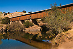Longest Wooden Covered Bridge (west of Mississippi River) at Knights Ferry, along the Stanislaus River, Stansilaus County, California