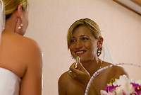 A bride prepares for her wedding in Kailua