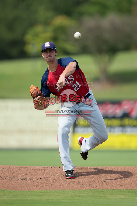 Hagerstown Suns starting pitcher Connor Bach (21) in action against the Kannapolis Intimidators at CMC-Northeast Stadium on August 16, 2015 in Kannapolis, North Carolina.  The Suns defeated the Intimidators 7-2 in game one of a double-header.  (Brian Westerholt/Four Seam Images)