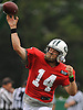 Ryan Fitzpatrick #14, New York Jets starting quarterback, throws a pass during team training camp at Atlantic Health Jets Training Center in Florham Park, NJ on Tuesday, Aug. 2, 2016.