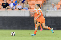 Houston, TX - Saturday July 08, 2017: Amber Brooks brings the ball up the field during a regular season National Women's Soccer League (NWSL) match between the Houston Dash and the Portland Thorns FC at BBVA Compass Stadium.