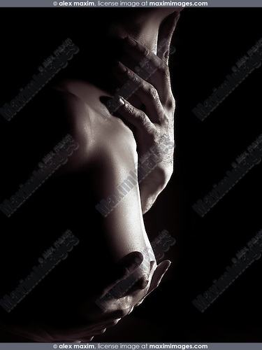 Sensual erotic closeup of man hands on nude woman breast and neck, black and white body parts abstract fine art nude