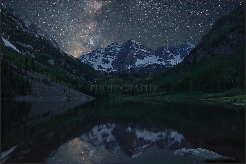 I arrived at the Maroon Bells near Aspen, Colorado, a little before 3:00am. I was hoping for a clear night in which to photograph the Milky Way as it rises over this iconic location. It took about 30 minutes to set up my astrotrac - the tracking device that allows me to photograph the stars using long exposures without producing star trails. <br />
