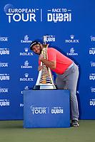 Jon Rahm (ESP) winner of the DP World Tour Championship and Race to Dubai at the Jumeirah Golf Estates, Dubai, United Arab Emirates. 24/11/2019<br /> Picture: Golffile | Fran Caffrey<br /> <br /> <br /> All photo usage must carry mandatory copyright credit (© Golffile | Fran Caffrey)