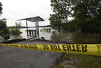 NWA Democrat-Gazette/FLIP PUTTHOFF <br /> HIGH WATER CAMPSITE<br /> A closed campsite is seen Tuesday June 11 2019 at Rocky Branch park on Beaver Lake. A small number of lakeside campsites at U.S. Army Corps of Engineers parks around the lake are unusable because of the high lake level.