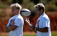Photo: Richard Lane...England Rugby Training Camp, Portugal. 04/07/2007. ..England's Lewis Moody and James Haskell (rt), wearing a 'Find Madeleine' tie shirt in support of Madeleine McCann.