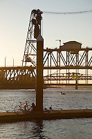 View of the Steel Bridge on the Willamette River in Portland Oregon