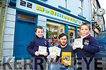 Aaron and Shane Keliher  from Scoil Ráalta na Maidine Listowel with Sean McGillicuddy launching the christmas cards for charity designed by 3 primary schools