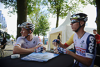 André Greipel (DEU) &amp; buddy Marcel Sieberg (DEU) enjoying a coffee before the start<br /> <br /> 2nd World Ports Classic 2013<br /> stage 2: Rotterdam  (NLD) - Antwerpen (BEL)<br /> 191km