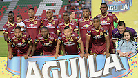IBAGUE -COLOMBIA, 13-07-2016: Los jugadores de Deportes Tolima, posan para una foto durante partido entre Deportes Tolima y Fortaleza FC, por la fecha 3 de la Liga Aguila II-2016, jugado en el estadio Manuel Murillo Toro de la ciudad de Ibague. / The Players of Deportes Tolima, pose for a photo during a match between Deportes Tolima and Fortaleza FC,for the date 3 for the Liga Aguila II-2016 at the Manuel Murillo Toro stadium in Ibague city. Photo: VizzorImage  / Juan Carlos Escobar / Cont