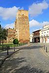 Tower on walls of Alcazaba castle building, Merida, Extremadura, Spain