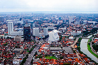 Java, East Java, Surabaya. The center of Surabaya with Madura in the background. The Kalimas river to the right (from helicopter).