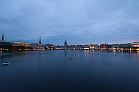 Sky line at night time.Alster lake Hamburg, Germany
