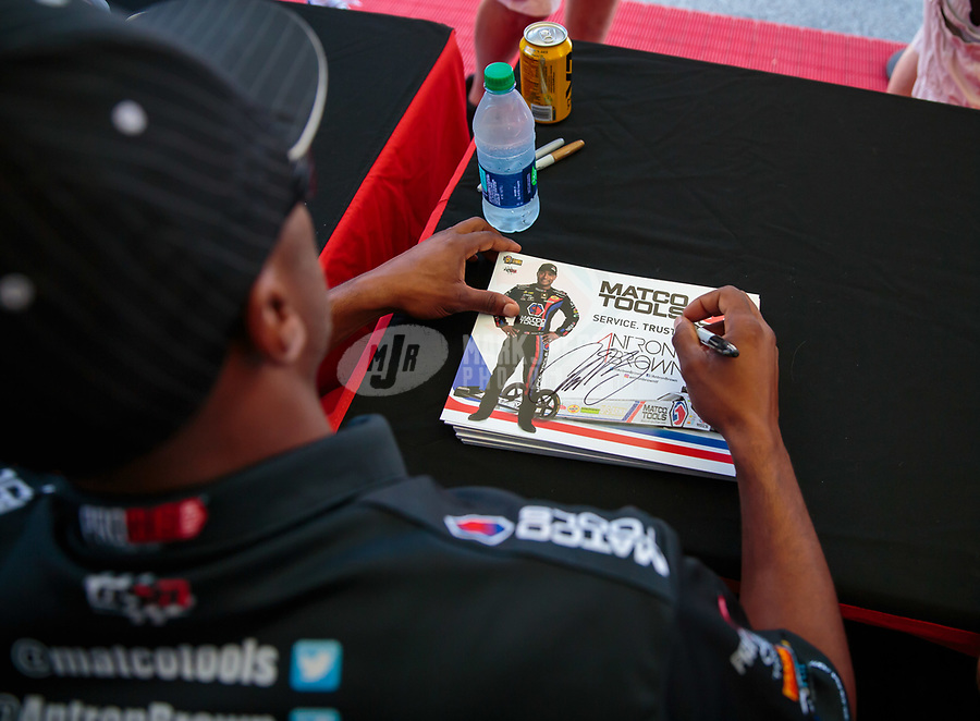 Sep 2, 2018; Clermont, IN, USA; NHRA top fuel driver Antron Brown during qualifying for the US Nationals at Lucas Oil Raceway. Mandatory Credit: Mark J. Rebilas-USA TODAY Sports