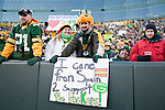 Green Bay Packers fans display a sign during an NFL divisional playoff football game against the New York Giants on January 15, 2012 in Green Bay, Wisconsin. The Giants won 37-20. (AP Photo/David Stluka)