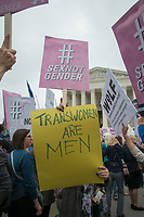 Washington DC, October 8,2019 USA-The US Supreme Court heard arguments for and against Lesbian,Gay,Bi-Sexual and Transgender (LGBT) discrimination in Washington DC. Protestors on both sides gathered at the steps of the Supreme Court, after the area was shut down due to an earlier bomb scare which later reopened. <br /> CAP/MPI/PYL<br /> ©PYL/MPI/Capital Pictures