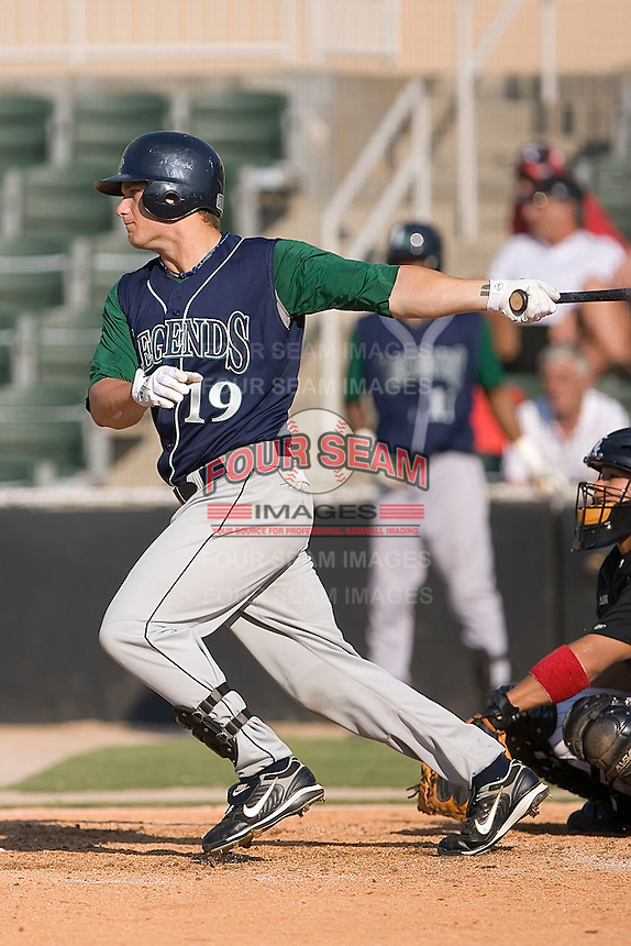 Left fielder Brandon Barnes (19) of the Lexington Legends follows through on his swing at Fieldcrest Cannon Stadium in Kannapolis, NC, Sunday June 15, 2008.