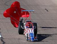 Feb 26, 2016; Chandler, AZ, USA; NHRA top dragster driver John Freer during qualifying for the Carquest Nationals at Wild Horse Pass Motorsports Park. Mandatory Credit: Mark J. Rebilas-
