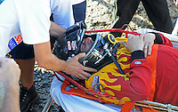 Jul. 18, 2009; Augusta, GA, USA; IHBA top fuel hydro driver Jarrett Silvey is transported to an ambulance on a stretcher after crashing during qualifying for the Augusta Southern Nationals on the Savannah River. Mandatory Credit: Mark J. Rebilas-