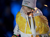 9th February 2018, Pyeongchang, South Korea; 2018 Winter Olympic Games; PyeongChang Olympic Stadium; The Olympic Flame carried to the cauldron ready to be lit