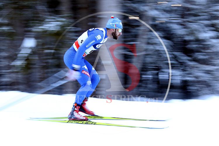 Cross Country Ski World Cup 2018 FIS in Dobbiaco, Toblach, on December 16, 2017; Men 15 Km Interval Start Free technique ; Mirco Bertolina (ITA)<br /> &copy; Pierre Teyssot / Pentaphoto
