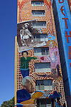 Tall mural, colorful, narrow, verticle, apartment building (3)