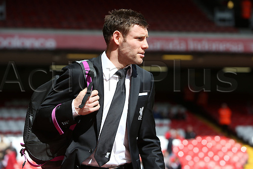 10.04.2016. Anfield, Liverpool, England. Barclays Premier League. Liverpool versus Stoke. James Milner of Liverpool.