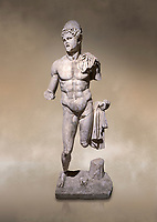 Roman statue of  Dioscuri. Marble. Perge. 2nd century AD. Inv no 2014/175. Antalya Archaeology Museum; Turkey. Against a warm art background.