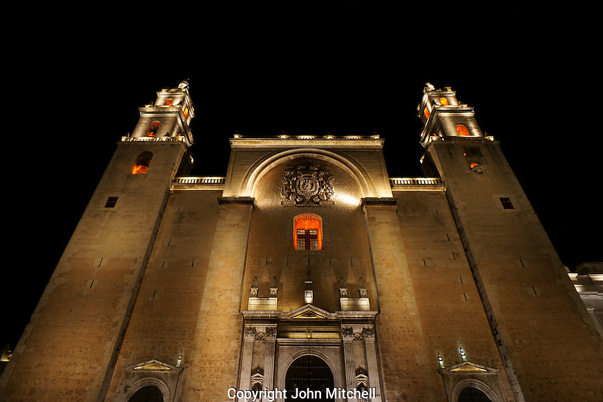 Night view of the Plateresque facade of the Catedral del Idefonso cathedral in Merida, Yucatan, Mexico