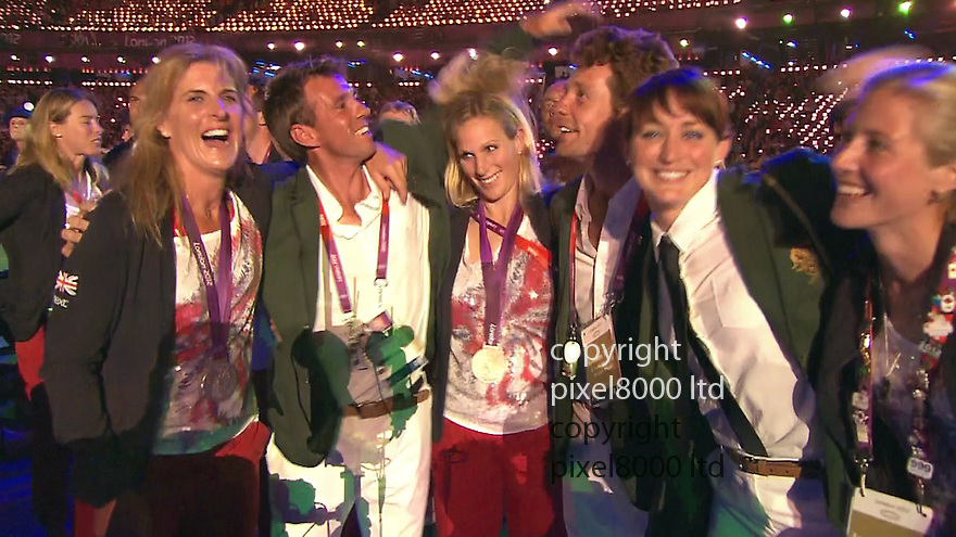 Olympics 2012 - BBC Coverage.Closing ceremony..Zara Philiips dancing with friends....Picture by Pixel8000 07917221968