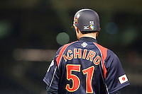 17 March 2009: #51 Ichiro Suzuki of Japan is seen at first base during the 2009 World Baseball Classic Pool 1 game 4 at Petco Park in San Diego, California, USA. Korea wins 4-1 over Japan.