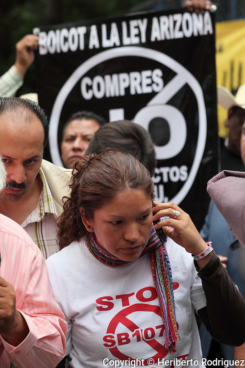Elvira Arellano, a Mexican immigrant who was ejected from the US, protests outside the US embassy to Mexico against the immigration law SB1070, July 28, 2010, in Mexico City. A federal judge ruled against some parts of the immigrations law SB1070 and some sections of the law will start on July 29 in Arizona state. Photo by Heriberto Rodriguez
