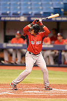 Boston Red Sox catcher Isaias Lucena (36) during an Instructional League game against the Tampa Bay Rays on September 25, 2014 at Tropicana Field in St. Petersburg, Florida.  (Mike Janes/Four Seam Images)