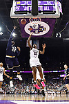COLUMBUS, OH - APRIL 1: Arike Ogunbowale #24 of the Notre Dame Fighting Irish  makes a basket as =m15 defends during the championship game of the 2018 NCAA Division I Women's Basketball Final Four at Nationwide Arena in Columbus, Ohio. (Photo by Justin Tafoya/NCAA Photos via Getty Images)